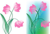 Composition with light pink tulip flowers — Stock Vector