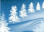 Azul y blanco invierno nieve bosque ilustración — Vector de stock