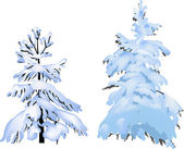 Two firs in snow isolated on white — Stock Vector