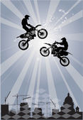 Abstract composition with two bikers — Stock Vector