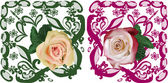 Two rose flowers in curled ornament — Stock Vector