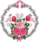 Pink rose decorated ornament element — Vector de stock