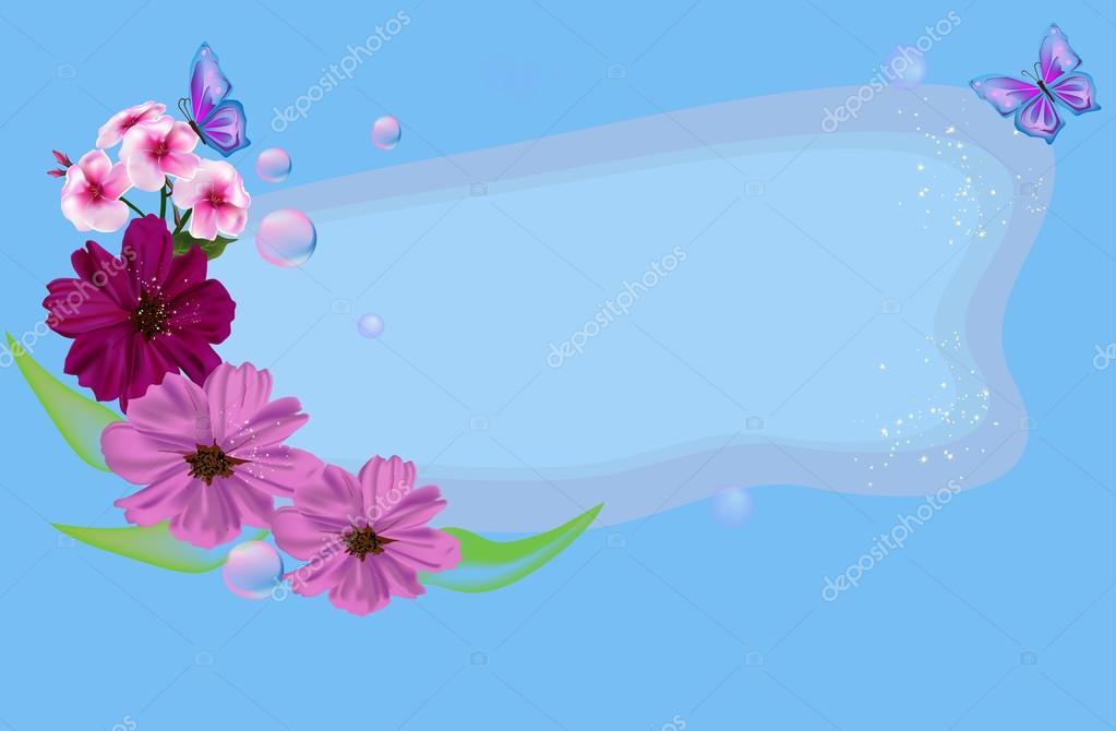 Dos Mariposas Y Flores Rosas Sobre Fondo Azul