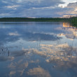 Sunset reflection in forest lake — Stock Photo #6260287