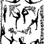 Dancing women silhouettes — Stock Vector #6261563