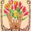 Hand and flowers in floral frame — Stock Vector #6261609