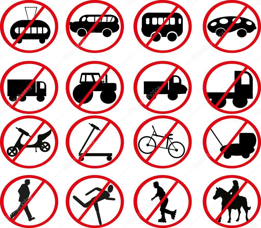 交通禁止标志的集 — 图库矢量图片
