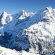 Eiger, Moench and Jungfrau, famous Swiss mountain peaks — Stock Photo #20808559