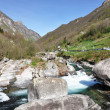 Mountain river in Verzasca valley, Italian part of Switzerland — Stock Photo