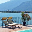 Sunbeds against Como lake, Italy — Stock Photo