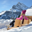 Stock Photo: Traveler enjoying Alpine panorama. Switzerland