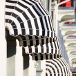 Stock Photo: Striped awnings of a restaurant