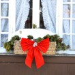 Christmas decoration on the window — Stock Photo