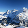 Eiger, Moench and Jungfrau: three famous Swiss mountain peaks — Stock Photo
