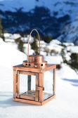 Lantern on the snow — Stock Photo