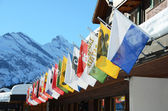 Flags of all Swss cantons against snowy Alps — Stock Photo