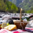 Red wine, cheese and grapes served at a picnic. Verzasca valley, — Stock Photo #20840165