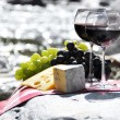 Red wine, cheese and grapes served at a picnic. Verzasca valley, — Stock Photo #20840271