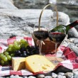 Red wine, cheese and grapes served at a picnic. Verzasca valley, — Stock Photo #20840583