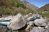 Verzasca valley. Crystal clear river and mountains in the backgr — Stock Photo