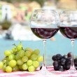 Pair of wineglasses and grapes against the harbour of Portvenere — Stock Photo