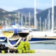 Pair of wineglasses and grapes against the yacht pier of La Spez — Stock Photo
