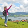 Traveler on the top of the hill — Stock Photo #20878631