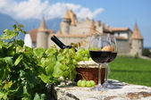 Wine and grapes. Chateau de Aigle, Switzerkand — Stock Photo