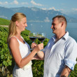 Man and woman tasting wine among vineyards in Lavaux, Switzerlan — Stock Photo #20883581