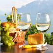 Wine, grapes and cheese. Lavaux region, Switzerland — Stock Photo