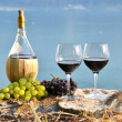 Red wine and grapes on the terrace of vineyard in Lavaux region, — Stock Photo #20883965