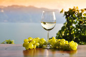 Wineglasses and bunch of grapes. Lavaux region, Switzerland — Stock Photo
