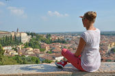 Girl looking to Verona town, Italy — Stock Photo