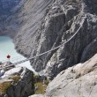 Stock Photo: Trift Bridge, the longest 170m pedestrian-only suspension bridge