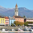 Ascona, famous Swiss resort at Maggiore lake - Stock Photo