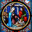 Nativity Scene. Stained glass window in the Basel Cathedral. — Stock Photo #20925729