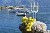 Twee champagneglazen en druiven — Stockfoto