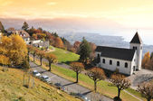 Chardonne town against Geneva lake, Switzerland — Stock Photo