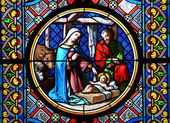 Nativity Scene. Stained glass window in the Basel Cathedral. — Stockfoto