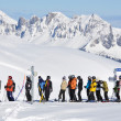 Queue at ski lift — Stock Photo #20935409