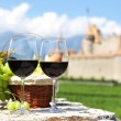 Red wine and grapes against an old castle. Switzerland — Stock Photo #20936831