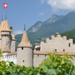 Chateau d'Aigle among vineyards. Switzerland — Stock Photo