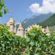 Chateau d'Aigle among vineyards. Switzerland — Stock Photo #20937015