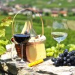Two wineglasses, grapes and cheese against vineyards. Switzerlan — Stock Photo