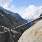 Trift Bridge, the longest 170m pedestrian-only suspension bridge — Stock Photo
