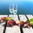 Two winglasses and autumn leaves on a wooden jetty — Stockfoto