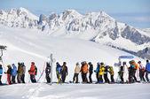 Queue at the ski lift — Stock Photo