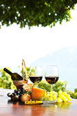 Red wine, grapes and cheese. Lavaux region, Switzerland — Stock Photo