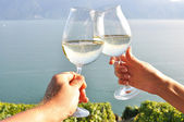 Two hands holding wineglases against Geneva lake, Switzerland — Stock Photo