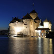 Chillon castle at night. Geneva lake, Switzerland — Stock Photo